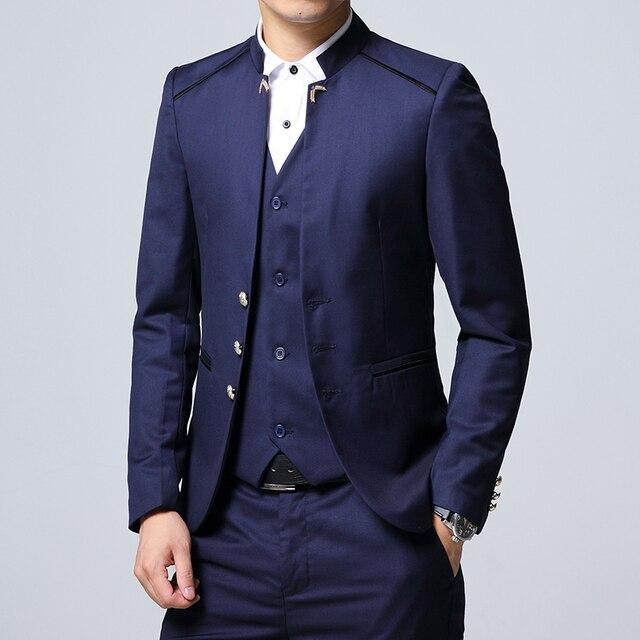 Men's Suit 3 Piece Set, Slim fit Men Suit Jackets + Pants + Vests, Wedding Banquet Male Blazer Coats Szie M-4XL 2