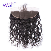 "Iwish Hair Peruvian Water Wave Lace Frontal Closure 13×4"" with Baby Hair 100% Human Remy Hair Natural Color Free Part Frontal"