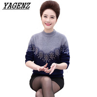 2017 Middle-aged Ladies Pullover Sweaters Winter Warm Slim O neck Sweater Large-size Stitching Sweater Wool Lady Knit Shirt 4XL