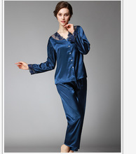 Yufeila 2019 New Fashion Silk Satin Women Sleepwear Pajamas Set Hot Intimate V Neck Lace Luxury Femme Lingerie Nightwear