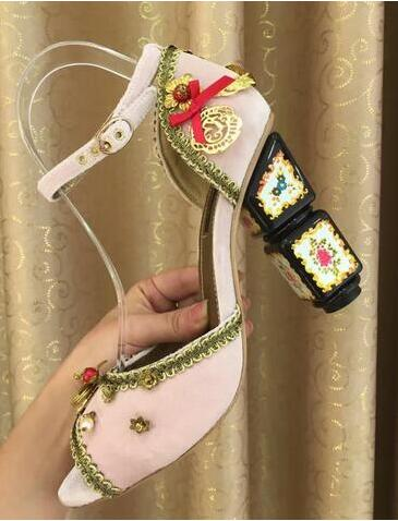 Luxury Crystal Suede Leather Peep Toe Women Pumps Print Thick High Heels Wedding Shoes Dress Sandals For Woman Free Shipping