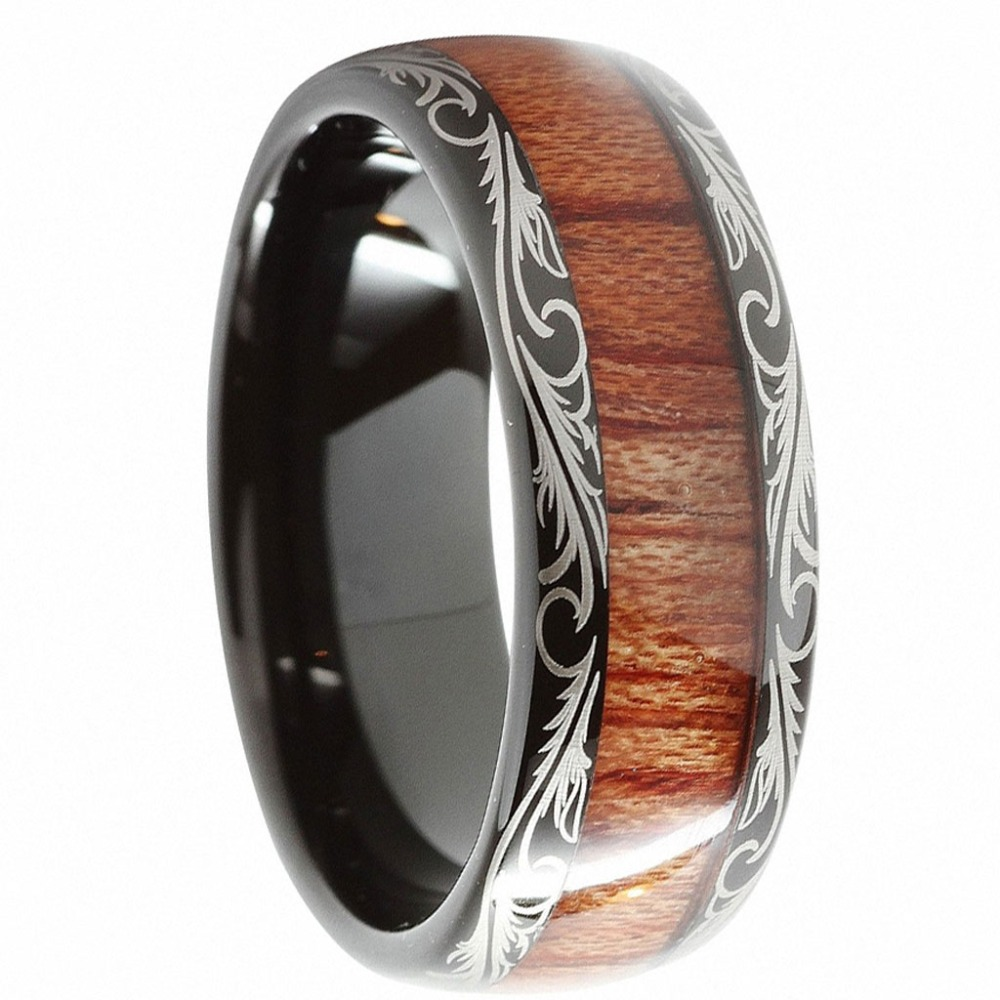 8mm Black Slivering Tungsten Carbide Ring Koa Wood Inlay Matching Mens Wedding Bands Anniversary Engagement Jewelry