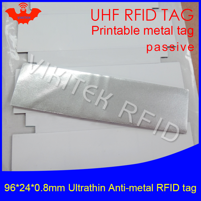 UHF RFID Ultrathin anti-metal tag 915mhz 868m EPC Gen2 ISO18000-6C fixed assets 96*24*0.8mm printable passive RFID PET Label 2016 trays management anti metal epc gen2 alien h3 uhf rfid tag 50pcs lot