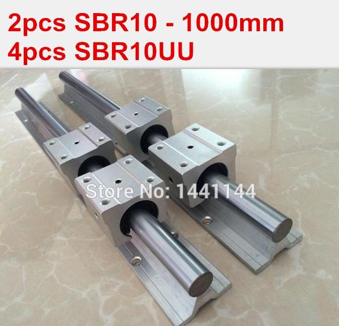 SBR10 linear guide rail: 2pcs SBR10 - 1000mm linear guide + 4pcs SBR10UU block for cnc parts 1pc sbr10 l300mm linear guide 2pcs sbr10 linear bearing block