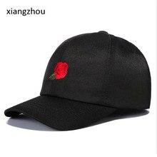 8e150b29c68 Women s Black Cap Red Rose Flower Summer Snapback Dad Hat For Men Women  Unisex Chinese Style