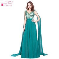 A Line Long Chiffon Teal Green Elegant Formal Evening Dresses 2017 Lace Sequins V Neck With Shawl Custom made