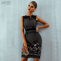 Adyce 2019 New Summer Lace Bandage Dress Women Elegant Black Hollow Out Sexy Bodycon Club Dress Celebrity Evening Party Dresses