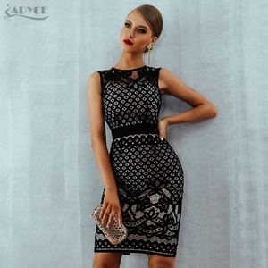 Image 1 - Adyce 2020 New Summer Lace Bandage Dress Women Elegant Black Hollow Out Sexy Bodycon Club Tank Celebrity Evening Party Dresses