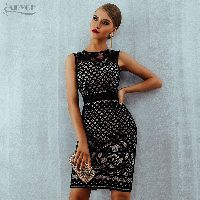 Adyce 2020 New Summer Lace Bandage Dress Women Elegant Black Hollow Out Sexy Bodycon Club Tank Celebrity Evening Party Dresses