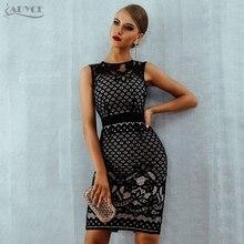 Adyce 2020 novo verão rendas bandagem vestido feminino elegante preto oco para fora sexy bodycon clube vestido celebridade noite vestidos de festa