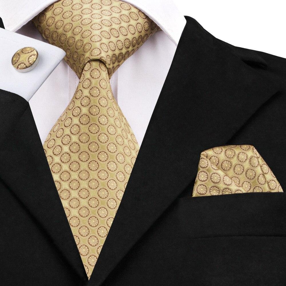 Мода 2016 года Золотарник Тан Dot галстук + платок + запонки шелковый галстук галстуки для Для мужчин формальные Бизнес Свадебная вечеринка C-486