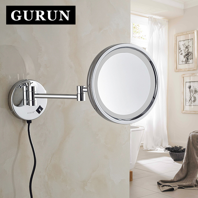 Gurun led makeup mirror 8 inch brass cosmetic mirror 10x magnifier gurun led makeup mirror 8 inch brass cosmetic mirror 10x magnifier wall mounted mirror bathroom audiocablefo
