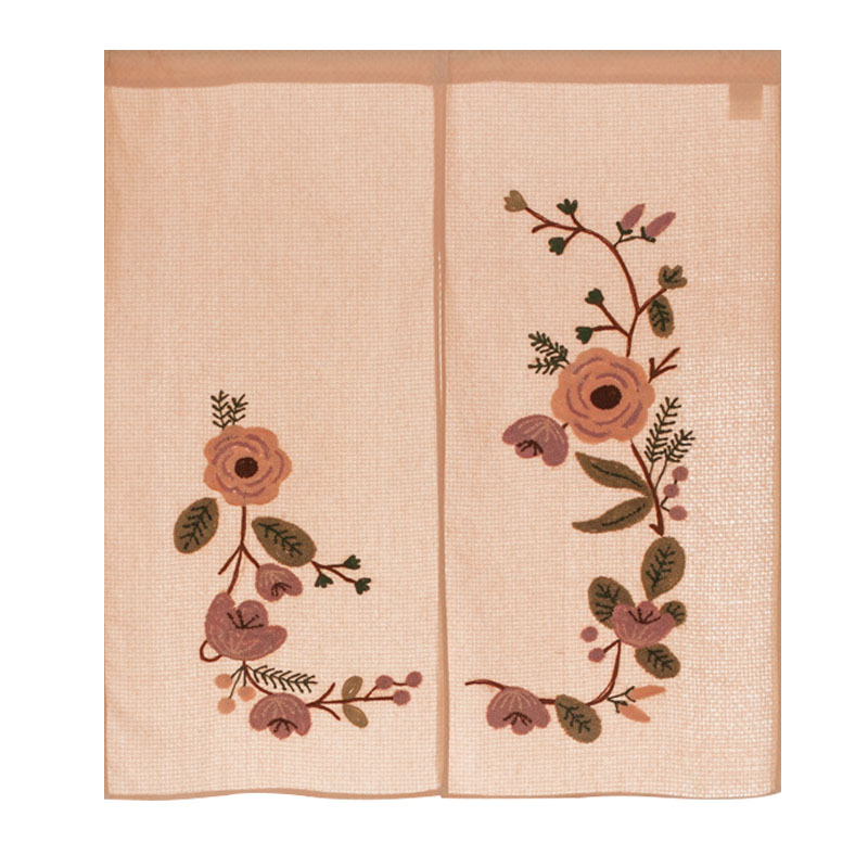 Japan Style Cotton Door Curtains Handmade Emroidery Beautiful Flowers Closet Covers Home Decorative Room Divider/Partition