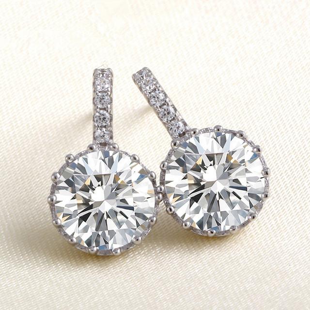 925 brilhar moda Coreano pequena jóia por atacado de Prata Esterlina jóias de prata de cristal de zircão D38 certificado