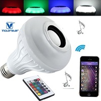 Light Bulb With Bluetooth Speaker 10W LED Music Light Bulb With 24Key Remote Control Colors Mood