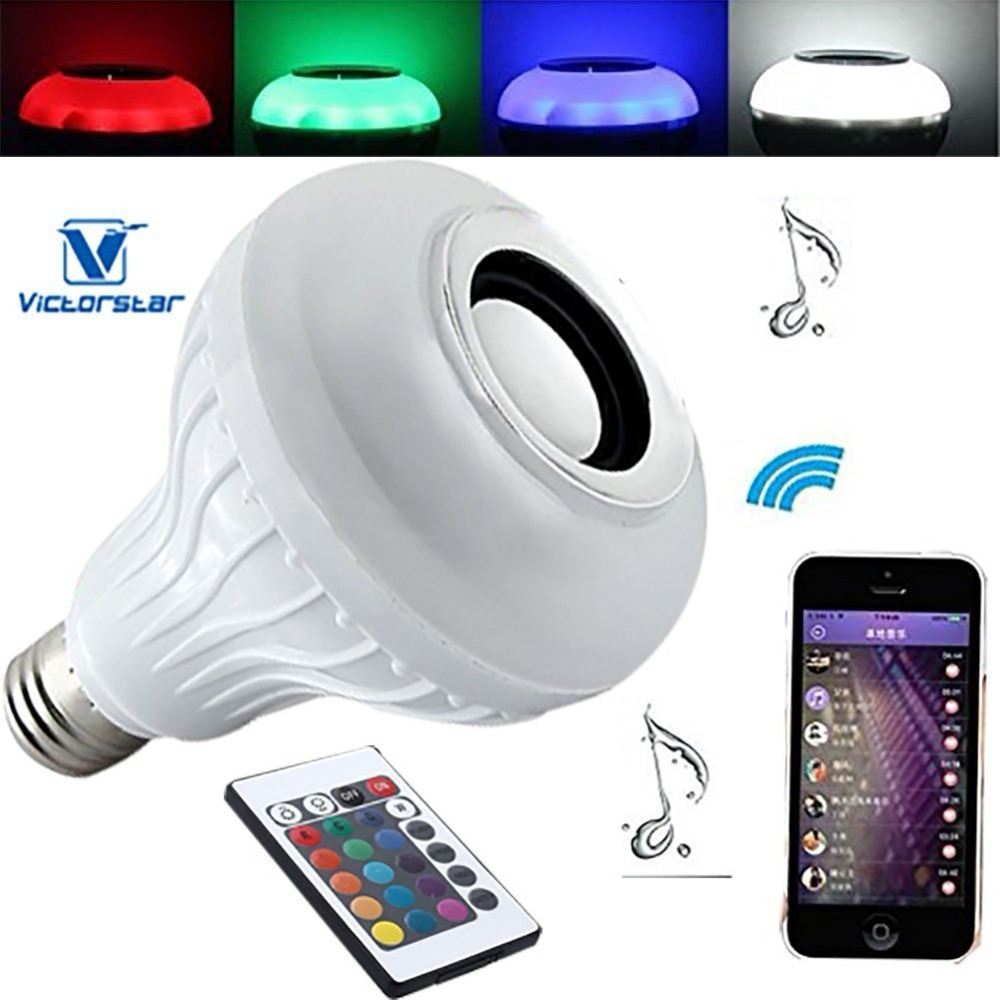 Light Bulb with Bluetooth Speaker 10W LED Music Light Bulb with 24Key Remote Control, Colors Mood Lighting Mode, E27
