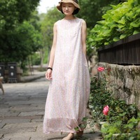 Original Literary National Style Loose Large Size Vest Sleeveless Print Dress Long Dresses Pink