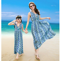 Family Look Clothing Striped Mother Daughter Dresses Family Matching Outfits T shirt Clothing Set Father Son Family ClothesCC746