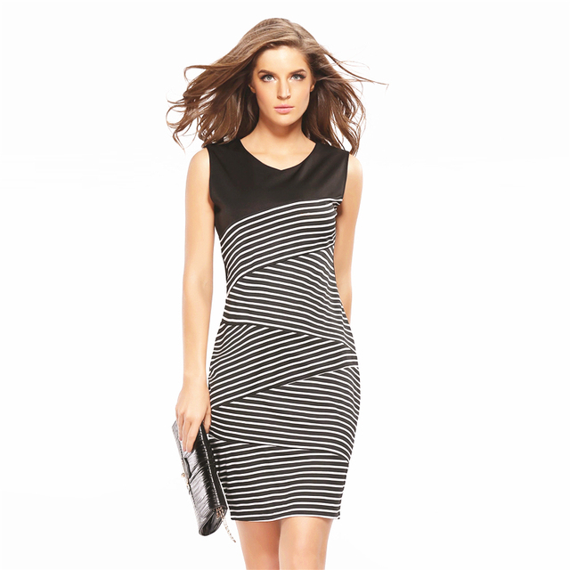 fc3cacced0 All Size Striped Patchwork Sexy V-neck Elegant Pencil Dress Super Slim  Sheath Sleeveless Black and White Business Bress