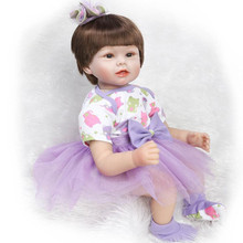Real Looking Early Education Reborn Baby Dolls For Kids Growth Partners 22″ 55 cm Short Brown Hair Cute Silicone Reborn Babies