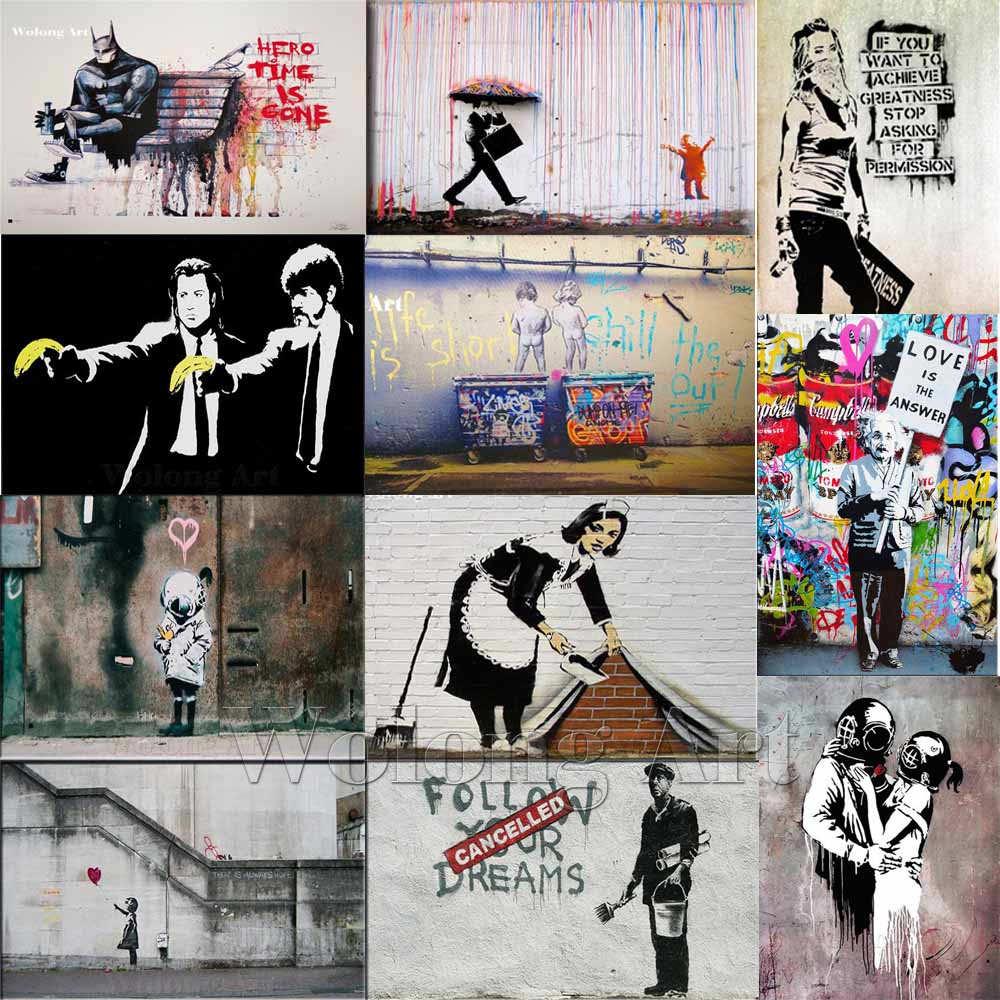 Graffiti art for sale canada - Banksy Graffiti Canvas Art Prints Paintings Wall Art Poster Pop Decoration Pictures Wall Art Decorative No