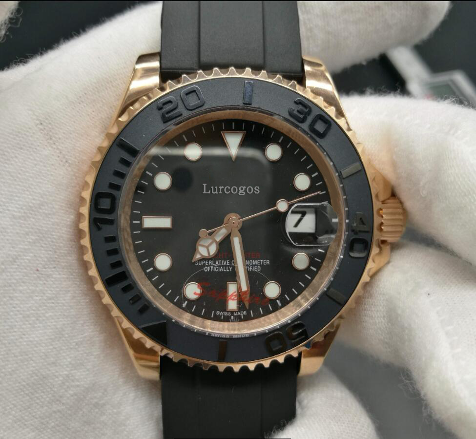 ClassicMensluxury WatchYacht rose gold41mm ceramic bezel sapphire glass mastr Stainless Steel Automatic glide smooth second hand in Mechanical Watches from Watches