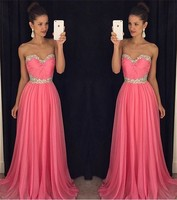 A Line Sweetheart Beaded Crystals Long Pleats Chiffon Formal Woman party prom Gown longo 2018 bridesmaid dresses