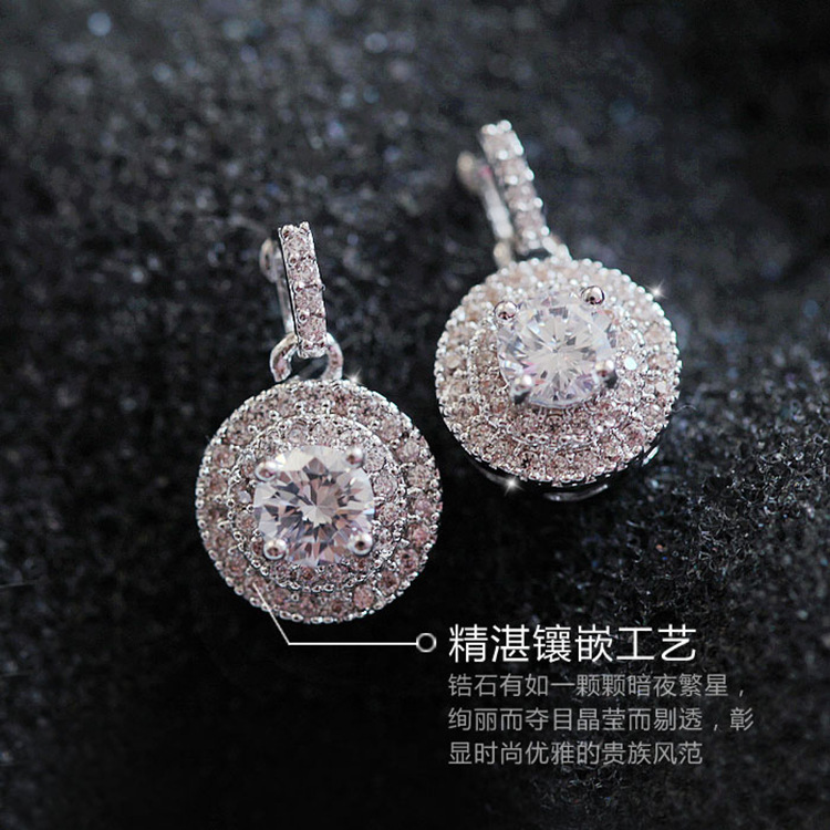 SALE 925 silverCarved Earrings Female Crystal from Swarovski New fashion earrings classic retro micro set hot jewelry
