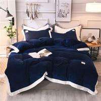 Blue grey pink white Bedding Set Crystal velvet Bed Sheet Comforter Duvet Cover Bedspread Bedclothes Queen King Size Linens