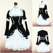 V-1152 Schwarz langhülse baumwolle Gothic Schule Lolita Kleid/viktorianischen kleid Cocktailkleid/halloween-kostüm US6-26