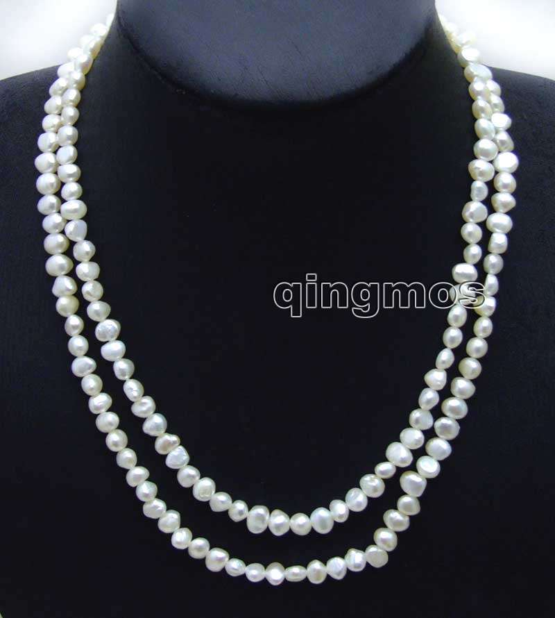 Fashion Long 40 Natural White 6-7mm Baroque freshwater pearl necklace-nec6115 wholesale/retail Free shipping