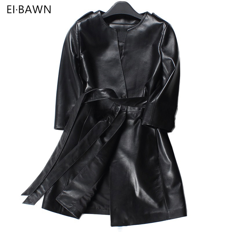 2018 Spring Women Genuine Leather Trench Coat Long Black Red Belt Vintage Leather Clothes Coat Ladies Casual 100% High Quality