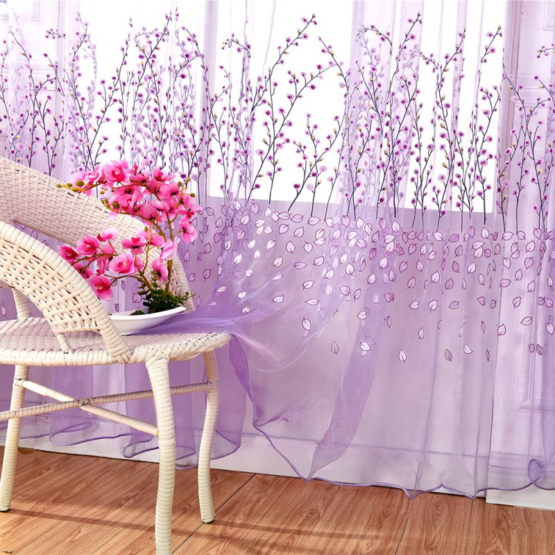 Window Sheer Voile Tulle Curtain Bedroom Living Room Balcony Plum Flower Tube Curtain Modern Curtain Tulle Sheer Panel 100*270cm