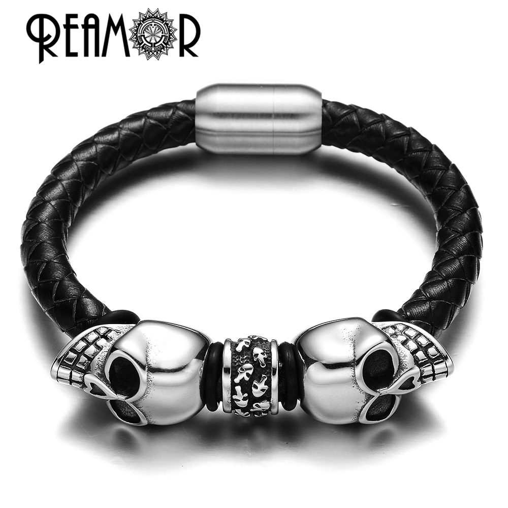REAMOR 17-21cm Punk Style 316L Stainless Steel Skull Skeleton Head Braided Black Leather Bracelets Bangles with Magnetic Buckle