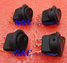 цена на 4Pcs LED Dot Light Car Auto Boat 2Pin Round Rocker ON/OFF Toggle SPST Switch 12V