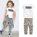 Girls Clohes Summer Style 2017 A New Girl Short Sleeve T-Shirt + Leggings Clothing Cotton Children Casual Sets  Child Clothing