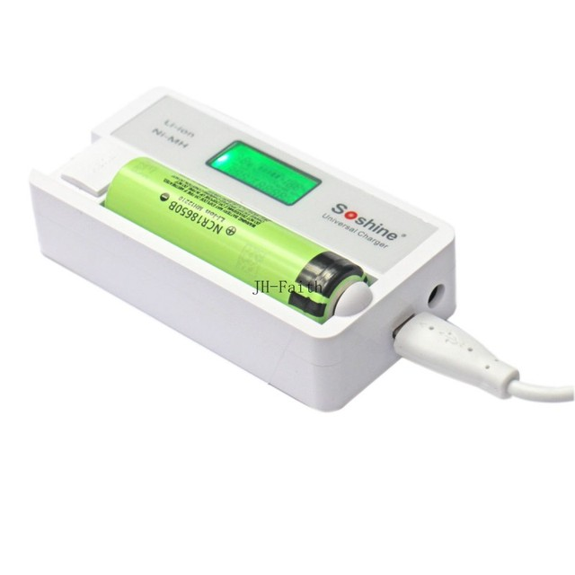 Soshine Cargador linterna Cargador SC-S7 Display LCD con Entrada USB para Cargador de Li-ion 18650 14500, Ni-MH AA AAA Nitecore PK SC2