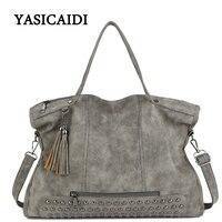 Large Capacity Famous Brand Rivet Handbag Fashion Women Tassel Shoulder Bag Pu Leather Female Big Casual