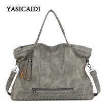 Large Capacity Famous Brand Rivet Handbag Fashion Women Tassel Shoulder Bag Pu Leather Female Big Casual