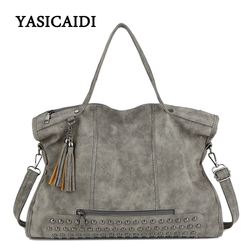 Large Capacity Famous Brand Rivet Handbag Fashion Women Tassel Shoulder Bag Pu