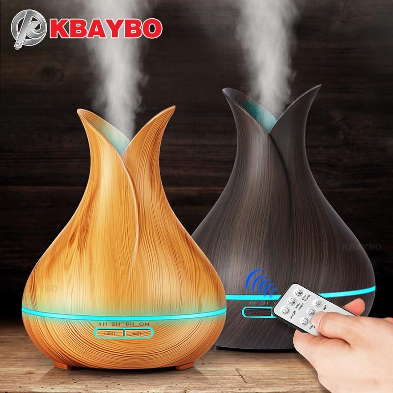 KBAYBO 400 ml aria diffusore Aroma elettrico Olio Essenziale Diffusore Ad Ultrasuoni Umidificatore Telecomando Legno Mistmaker per la casa
