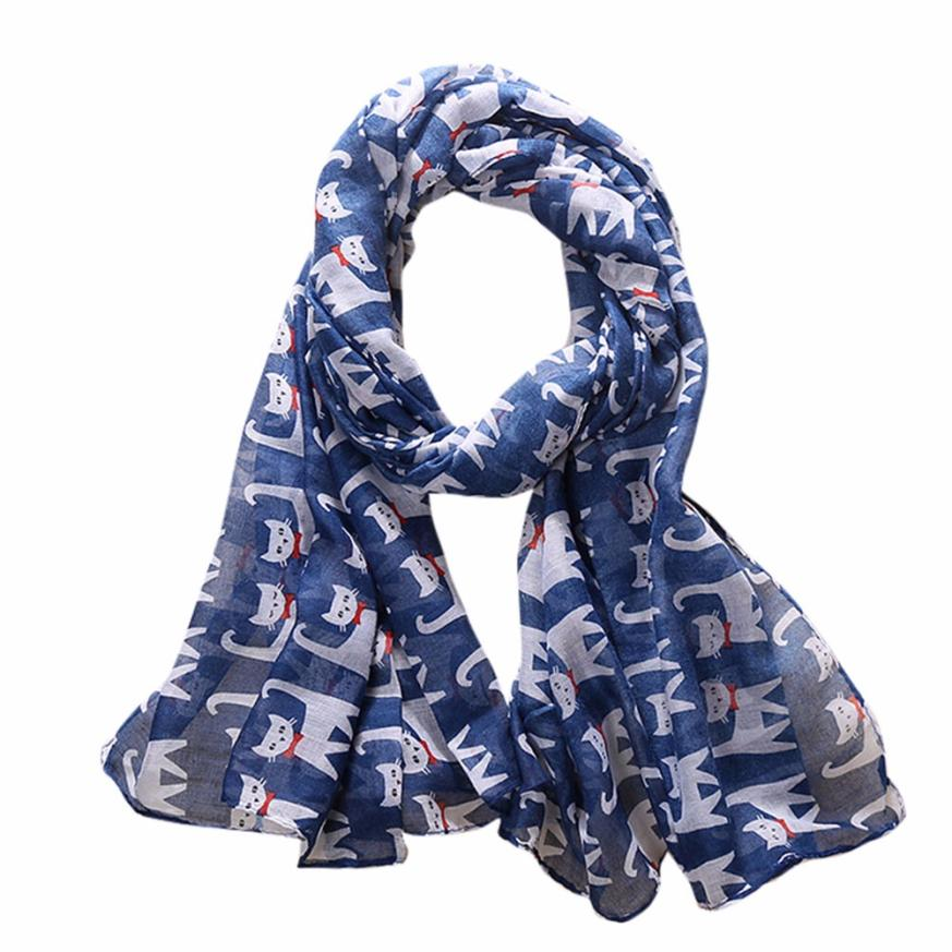 MUQGEW Women Ladies Bowknot Cat Print Pattern Long   Scarf   Warm   Wrap   Shawl 2017 luxury brand Women Silk   scarf   Beach Shawl