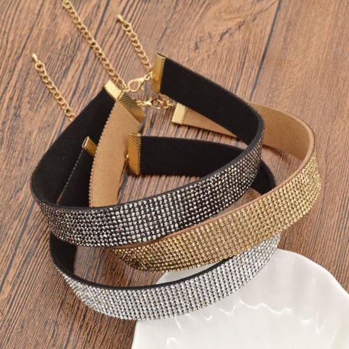 86dbe17afacb 3 color mujeres rhinestone Crystal choker collar de terciopelo collar  babero boda simple collar de la joyería