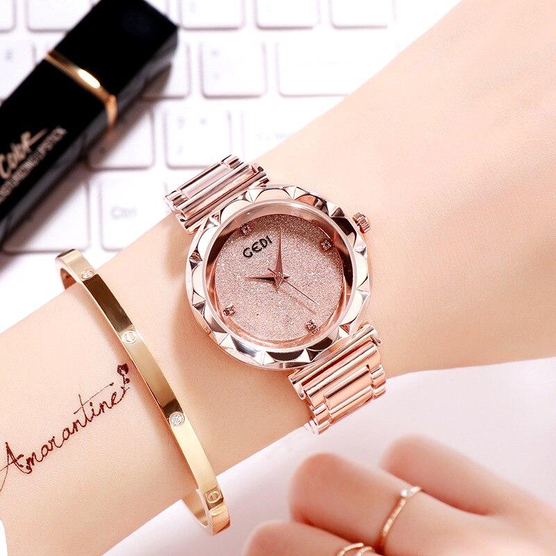 GEDI Luxury Fashion Stainless Steel Band Ladies Quartz Watch Ultra-thin Rose Gold Wrist Watch Dress Watch Horloges Reloj Mujer
