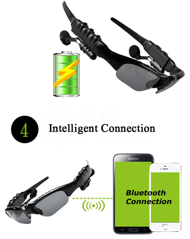 Bluetooth Sunglasses Outdoor Smart Sun Glasses Wireless Headset with Microphone for Smart Phones black normal 16