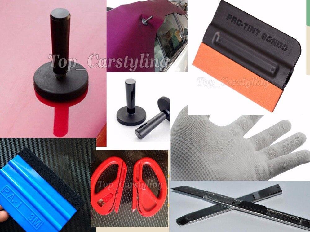 Meilleur Prix Voiture Wrap Outils kits 4 pièces raclette/4 pièces aimants/1 pièces couteau/1 pari gants/2 x coupeur/1 pièces magnétique raclette