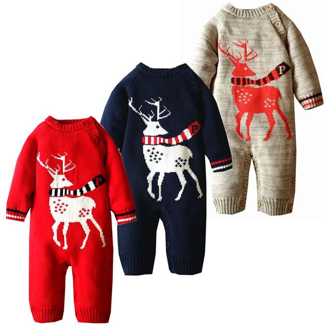 A Roupa Do Bebê recém-nascido de Crochê Inverno da Roupa Do Bebê Infantil Roupas De Natal Veados Malha Quente Trajes de Halloween Do Bebê Inverno Romper