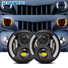 "7 ""LED Scheinwerfer Weiß Halo Auto Angel Eyes DRL LED Projektion Objektiv Für Jeep JK LJ Tj Fj Cruiser hummer MACK R Peterbilt Kenworth"