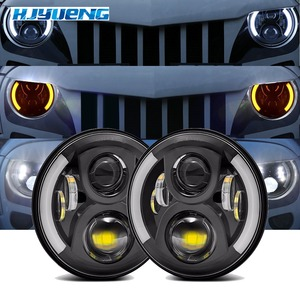 "Image 1 - 7 ""LED Scheinwerfer Weiß Halo Auto Angel Eyes DRL LED Projektion Objektiv Für Jeep JK LJ Tj Fj Cruiser hummer MACK R Peterbilt Kenworth"