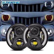 """7 """"faro LED blanco Halo coche Ojos de Ángel DRL LED lente de proyección para Jeep JK LJ Tj Fj Cruiser hummer Mac R Peter bilt Kenworth"""